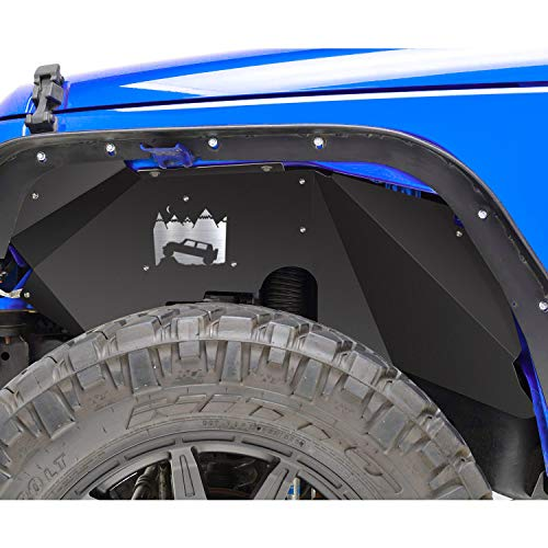 SMALLFATW Jeep Wrangler Steel Front Inner Fender Liners Wheel Cover for 2007-2018 Jeep Wrangler JK JKU 4WD Off-Road Style Corrosion-Resistant Aluminum Splash Guards