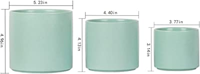 SQOWL Modern Ceramic Planters Round Flower Plant Pots Small to Medium Sized with Drain Hole Indoor Outdoor Set of 3,Blue