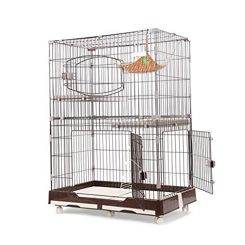 [Amazonブランド] Umi.(ウミ)猫 ケージ ペットゲージ キャットケージ チンチラ スチール製 扉付き 2段 3段 広々 多頭飼い 組立 引き出しトレー付き 室内飼い おしゃれ M ブラウン