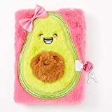 Claire's Plush Lock Diary for Girls, Smiling Avocado, Pink and Green, Includes Lock with 2 Keys, 6x8 Inches