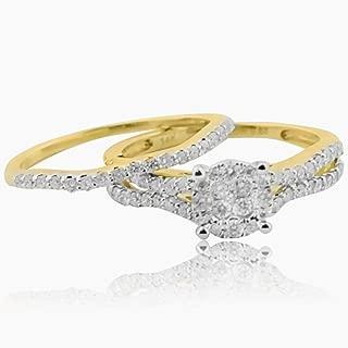 14K Yellow Gold Bridal Set 0.6cttw Diamonds Engagement Ring and Band Split Shoulder (i2/i3, I/j)