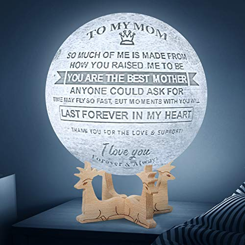 Engraved 3D Moon Lamp for Mom