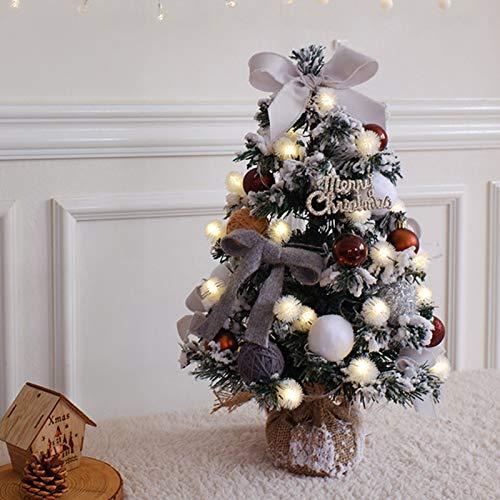 TopJiä Shaggy Christmas Tree Take LED Light String Decorations,Pre-lit Desk Christmas Tree,45cm Premium Mini Christmas Tree,For Desktops Office Kids