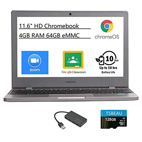 Samsung Chromebook 4 11.6' HD Laptop, Intel Celeron Processor N4000, 4GB RAM 64GB eMMC 128GB SD Card Gigabit Wi-Fi,Bluetooth, Chrome OS, Platinum Titan, Bundled with TSBEAU 4-Port USB 3.0 Hub