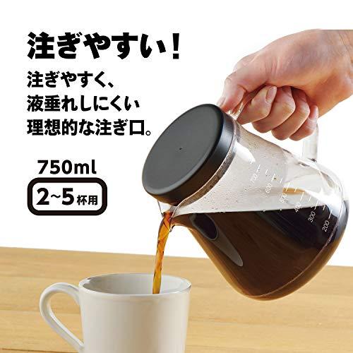 曙産業コーヒーサーバー2WAYドリッパーセット750ml5杯分日本製軽くて割れにくいトライタン樹脂製ガラスのように透明目盛付き電子レンジ対応ペーパーレスドリッパー付きドリップも水出しも両方できる2WAY設計口径が広くお手入れ楽々コーヒーサーバーストロンTW-3728ホワイト