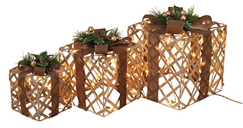 Set of 3 Large Lighted Glittered Cutout Holiday Gift Boxes - Indoor/Outdoor Christmas Decoration