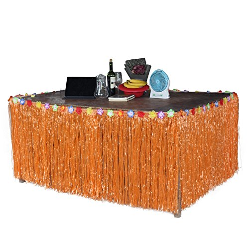 Zehui Hawaiian Tropical Style Orange Artificial Grass Table Skirt Flower Inlaid Luau BBQ Party Tableware Decoration