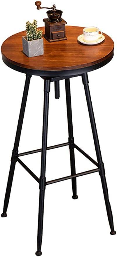 YLMF Retro Bar Table, Top 21.6in Counter High Table, Wooden Roun