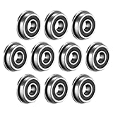 uxcell F695-2RS Flanged Ball Bearing 5x13x4mm Double Sealed (GCr15) Chrome Steel Bearings 10pcs