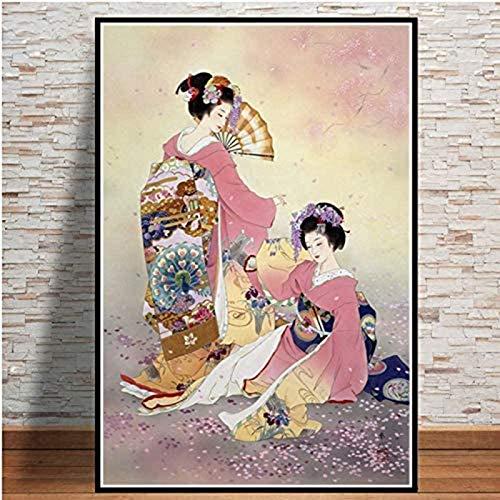 QWEWQE Cuadro sobre lienzo Nueva Japón Geisha Mujeres Pintura Arte Póster Moderno Cuadros de Pared Cuadros Cuadros para Sala de Estar Decoración sin Marco (50 x 75 cm)