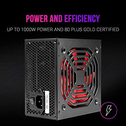 MARSGAMING MPB1000, Fuente de Alimentación PC 1000W, 80 Plus Gold, Ultrasilenciosa
