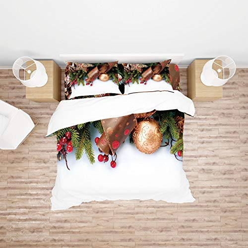 AmaUncle Christmas, Pine Cones with Garland Tree 4pc Bedding Sets,1Duvet Cover,1Flat/Fitted Sheet,2 Pillowcase(no Comforter Inside) AM007566 (Queen)