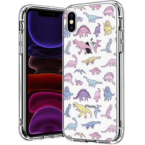 BICOL iPhone X Case,iPhone Xs Case,Dinosaurs Pattern Clear Design Transparent Plastic Hard Back Case with TPU Bumper Protective Case Cover for Apple iPhone X/iPhone Xs