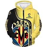 xiaoxian Hombres Hoodies por Villarreal 3D Impresión Sudadera con Capucha Suéteres/Zip Chaqueta Unisexo Sweatshirts Jersey Suelto / amarillo2 / XXXXL