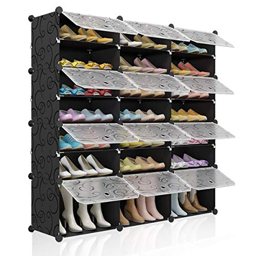 KOUSI Portable Shoe Rack Organizer 48 Pair Tower Shelf Shoe Storage Cabinet Stand Expandable for Heels, Boots, Slippers, 8 Tier Black