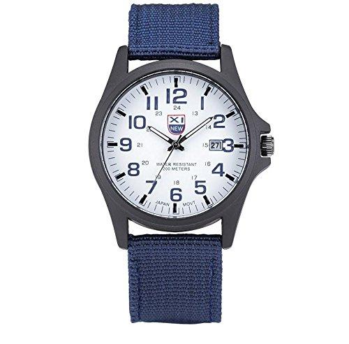 L&X Leinwand Gurt Männlich Armbanduhr Kalender Quarz Watch Bewegung Watch, 3