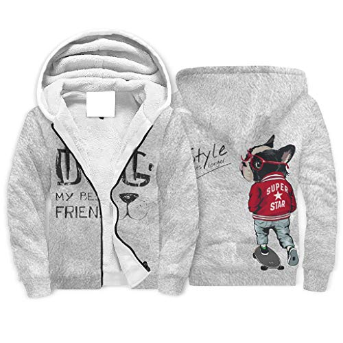 Hinfunees Skateboard Hund Kapuze Hoodie Fleece-Reißverschluss Klassisch Sweatshirt Pullover Männer Frauen Plus Samt Kapuzenjaker Pockeds Kordelzug Kapuzenpullover White XXL