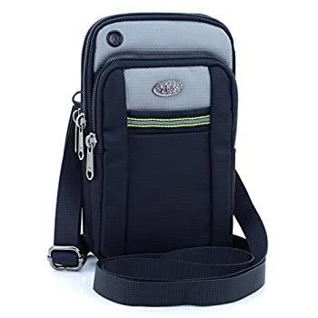 U-TIMES Water Resistant Oxford Waist Pouch 6.5  Crossbody Shoulder Cell Phone Bag Silver