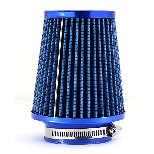 """TIROL Air Filter Round Tapered Mini Power Stack Auto Cold Air Intake Diameter 3"""" Blue"""