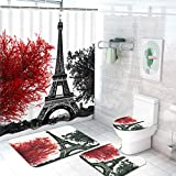 Pknoclan 4 Pcs Paris Eiffel Tower Shower Curtain Sets with Non-Slip Rug, Toilet Lid Cover and Bath Mat, Black Red Art Trees Shower Curtain with 12 Hooks, Waterproof Romantic Vintage Bath Curtain