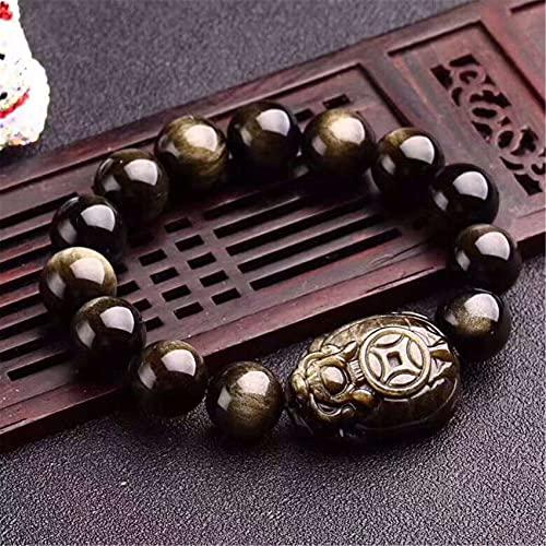 Bracelet en cristal naturel Feng Shui Guérisseur chanceux Dragon Tortue Charme Gold Sheen Sheen Balance Bracelet Perles Vacances Bijoux Bijoux Richesse Amulette Attirer de l'argent Prospérité,10mm
