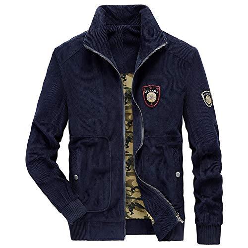 FWJ-clothes Herren Jacken Mäntel Jacke Herren Frühling Herbst beiläufige Retro-Reißverschluss-Jacken-Mantel-Outwear Overcoat für Reisen im Freien wandernden,Blau,S