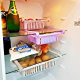 Fridge Drawer Organizer,3 Pack Retractable Refrigerator Organizer Bins Storage Box Fresh-Keeping Basket,Unique Design Pull Out Bins, Egg Drawer Holder Fit for Fridge Shelf Under 0.6 inch