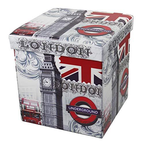 D&D Quality Puff Almacenaje Plegable, Asiento Acolchado, 38 x 38 x 38 cm - Exterior Suave Piel Sintética - Caja Almacenamiento Cuadrada (Londres)