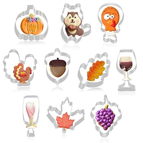 K KUMEED - Juego de 10 moldes de acero inoxidable para galletas con forma de calabaza y hojas de arce, para copas de vino, botella de vino, ardillas, ardillas, hojas de roble, para niños