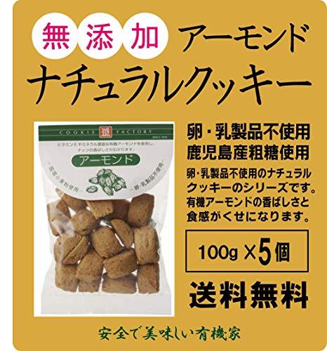 無添加 ナチュラルクッキー(アーモンド)100g×5個★レターパック赤で配送★国内産小麦粉使用 有機アーモンドの香ばしい風味 卵・乳製品不使用
