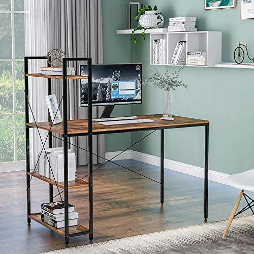 Scrivania per computer con 4 ripiani – Tavolo studio per studenti con libreria, moderna scrivania in legno con telaio in acciaio per piccoli spazi, casa, ufficio, postazione di lavoro