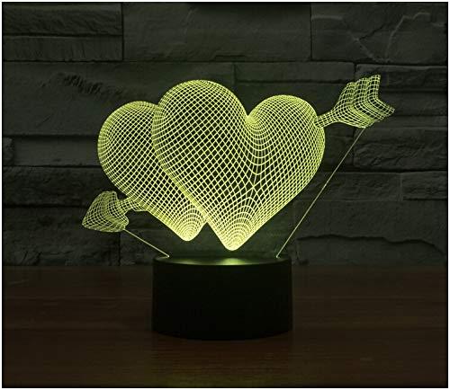 3D Lampes Illusions Smash Through The Heart Touch Sensitive Switch Veilleuse Led Lampe De Table Lampe De Chevet La Décoration Intérieure, Cadeaux Parfaits Pour Bébé