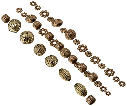Darice 40-Piece Metal Spacer Beads, Assorted Shapes, Antique Gold Antique Gold Metal Bead