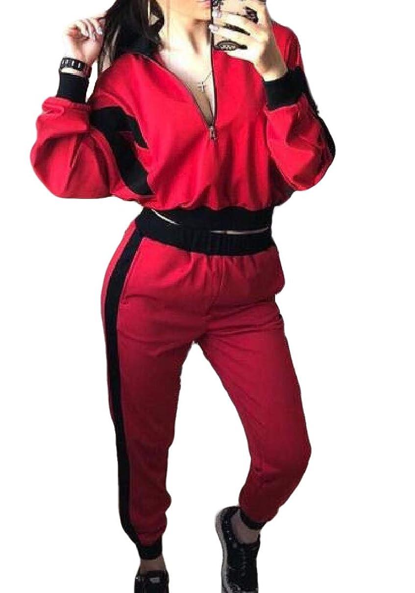 整然とした傀儡どういたしましてWomens 2 Piece Outfits Tracksuit Jumpsuit Windbreaker Pullover Jacket Crop Top Pants Set