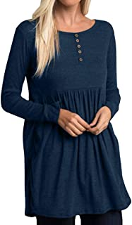 DIDWZW Tops for Women Summer Tunic Blouse Tops Casual O-Neck Solid Button Long Sleeve Stretch Loose Mini Dress-Size(S-XXL)