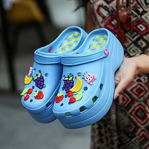 Chaussures d'été Crochette Caoutchouc Sabots en gros 2021 Femmes Sandales Crocks Girl Jardin Chaussures Noir Crocse Plage Plage Sandales Plat Sandales Pantoufles ( Color : 220 Blue , Shoe Size : 38 )