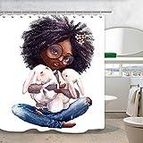 NYMB Afrikanische Frauen-Duschvorhang, schwarzes Mädchen, afrikanische Afro-Mädchen, mit Kaninchen-Badevorhänge, wasserdicht, Stoff, Kaninchenduschvorhang, für Badezimmer, 12 Haken, 69 x 178 cm