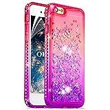 """OKZone Coque iPhone 6S/6[avec Film de Protection écran HD], Brillante Cristal Diamant Liquide 3D Sables Mouvant TPU Gel Silicone Bumper Coques Housse pour Apple iPhone 6S/iPhone 6 4,7"""" (Rose Violet)"""
