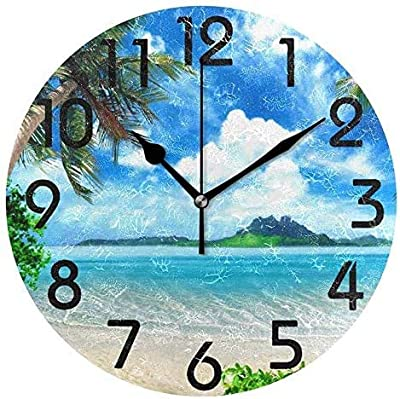 XinsFaith Silent Decorative Wall Clock Hawaiian Tropical Beach Wooden 10 Inch Wall Decor Arabic Numerals for Bedroom Living Room Kitchen Frameless