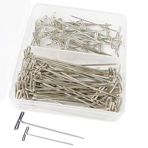 TopWigy 100 Pack Wig T-pins in 2 Sizes Wig T-pins for Holding Wigs and Hair Extensions on Wig Head