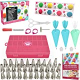 Cake Decorating Supplies Kit 52 pcs - Icing Piping bags and Tips Cupcake Decorating Kit with 12...