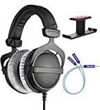 Beyerdynamic DT 770 PRO 32 Ohm Closed-Back Headphones for Smartphones, Computers, and Mobile Devices Bundle with Blucoil Aluminum Dual Suspension Headphone Hanger, and Y Splitter for Audio and Mic