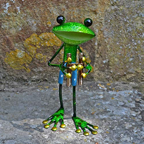 FABULOUS GREEN METAL GARDEN FROG WITH BINOCULARS SCULPTURE ORNAMENT FIGURE FROGS