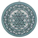 Large Shri Yantra Charka Yoga Meditation Sacred Handcrafted Wooden Wall Decor Hanging Art (Turquoise, 15.75 Inches)