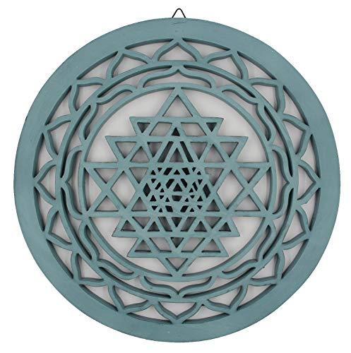 Large Shri Yantra Charka Yoga Meditation Sacred Handcrafted Wooden Wall Decor Hanging Art (Turquoise, 15.75 Inches)