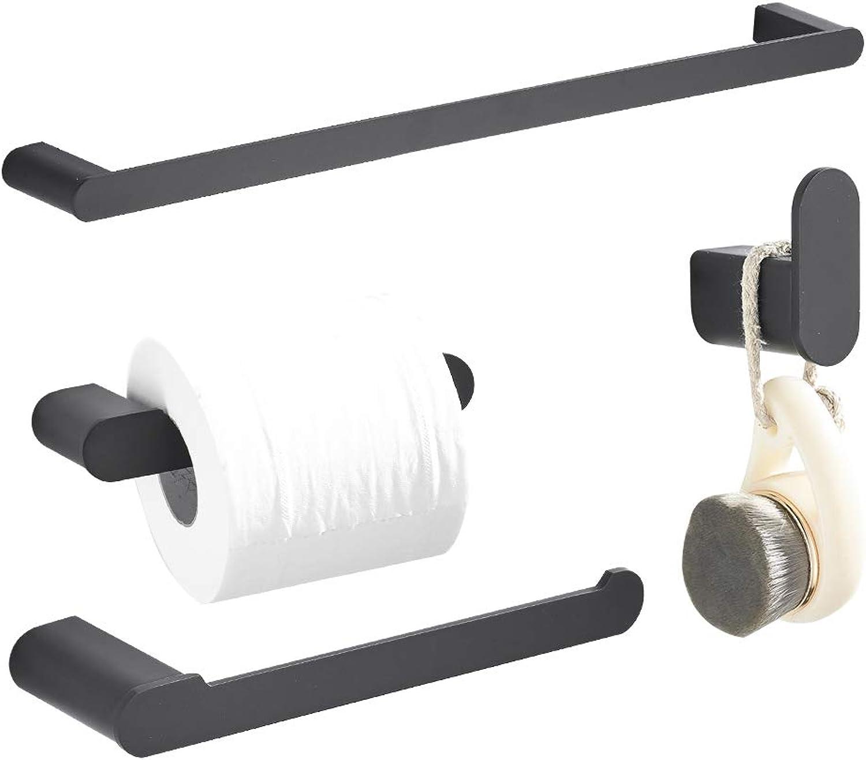 Klabb RB-18 4-Piece ss304 Bathroom Hardware Accessory Set with 24  Towel Bar -Matte Black Round Type