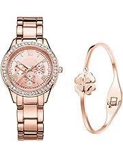 DWG 腕時計 レディース ローマ数字 クリスタル 日本製クオーツ アナログ ウオッチ 女性 時計 watch women ピンクゴールド