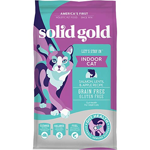 Solid Gold Let's Stay In Indoor Cat Salmon, Lentil & Apple Recipe for Adult Cats, 3 lb