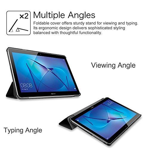 Fintie Hülle Case für Huawei Mediapad T3 10 - Ultra Dünn Superleicht Flip Schutzhülle mit Zwei Einstellbarem Standfunktion für Huawei MediaPad T3 (9,6 Zoll) 24,3 cm Tablet-PC, Schwarz