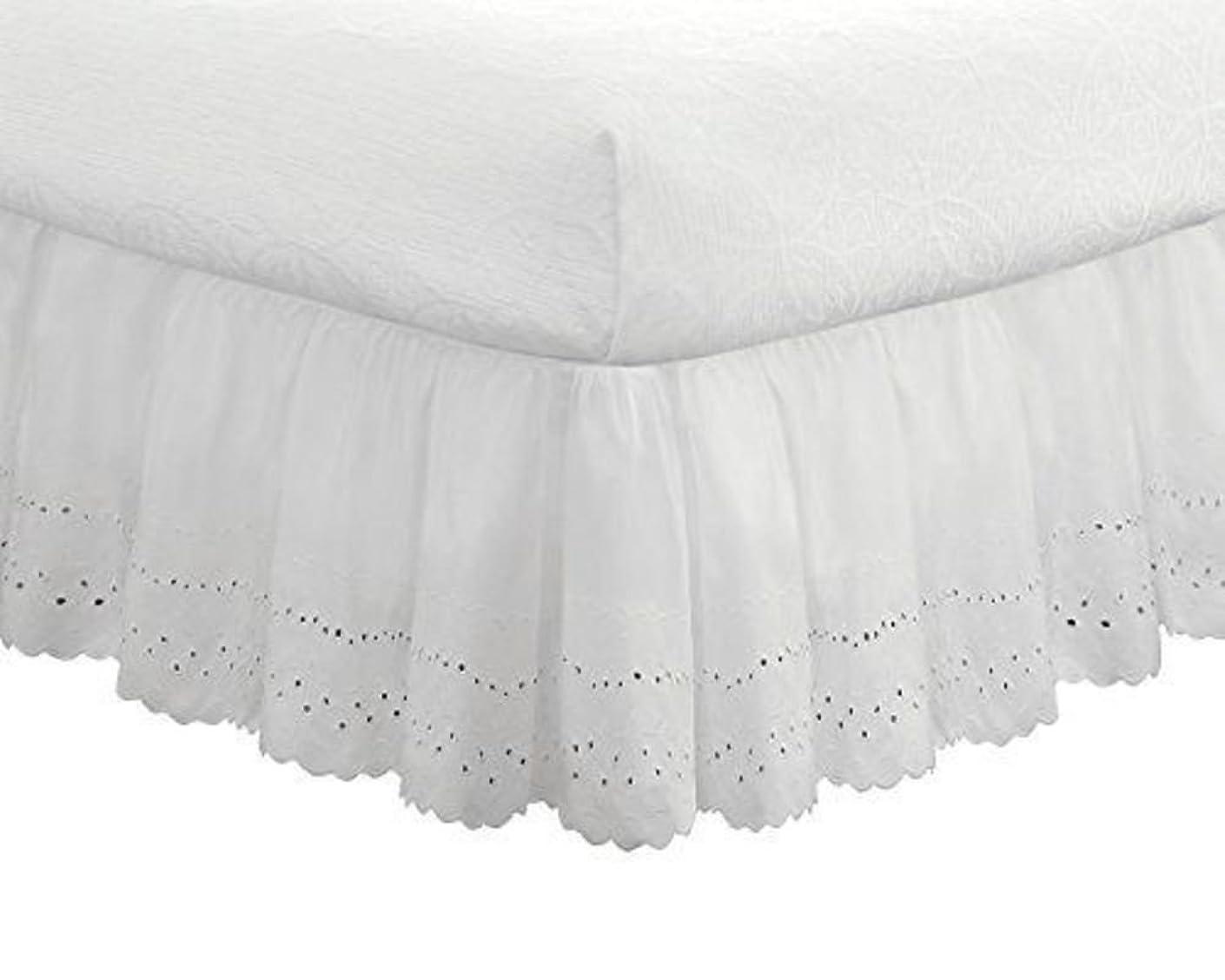 稚魚そんなに病刺繍のベッド スカート,弾性 ポリエステル ベッドの周りをラップ 1 ベッドスカート, 耐フェード しわ 簡単なケア ベッドスカート- 100x200x38cm